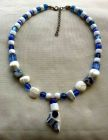 Tinsey Blue Broken Pot with Blue and White Glass Beads Necklace