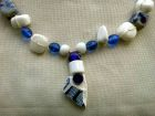 Detail-Tinsey Blue Broken Pot with Blue and White Glass Beads Necklace