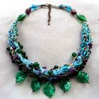 5 Green Glass Leaves Necklace