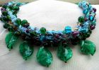 Detail-5 Green Glass Leaves Necklace